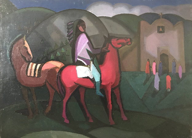 Taos Indian, Two Horses And a Church 30x40 Original Painting by Constantine Cherkas