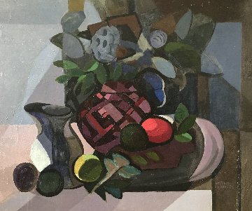 Still Life With Pomegranates 1980 28x36 Original Painting - Constantine Cherkas