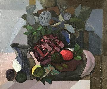 Still Life With Pomegranates 1980 28x36 Original Painting - Constantine Cherkas