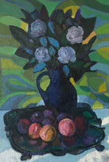Still Life With Flowers 36x28 Original Painting by Constantine Cherkas