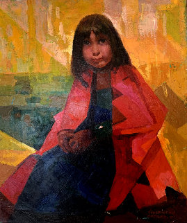 Indian Girl 24x20 Original Painting - Constantine Cherkas