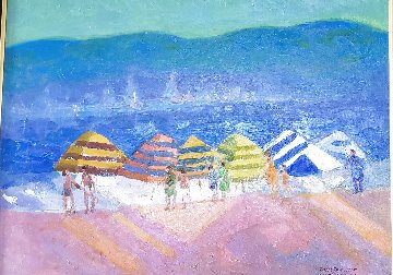 Mediterranean Stripes 2003 33x40 Huge Original Painting - Constantine Cherkas