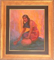 Indian Girl With Pot 2004 35x31 Original Painting by Constantine Cherkas - 1
