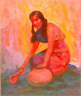 Indian Girl With Pot 2004 35x31 Original Painting by Constantine Cherkas - 0