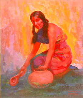 Indian Girl With Pot 2004 35x31 Original Painting - Constantine Cherkas