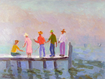 Pier Fishing 2003 18x24 Original Painting - Constantine Cherkas
