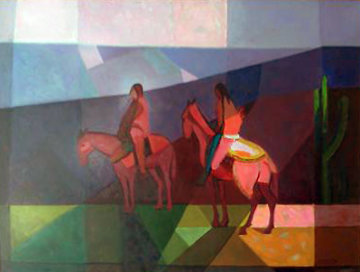 Untitled Riders 1985 33x43 Original Painting - Constantine Cherkas