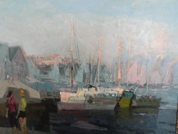 Untitled Harbour Painting 30x36 Original Painting - Constantine Cherkas