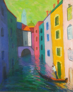A Gondolier And His Canal 36x31 Original Painting - Constantine Cherkas