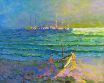 Newport Beach Twilight, California 2004 33x39 Original Painting - Constantine Cherkas