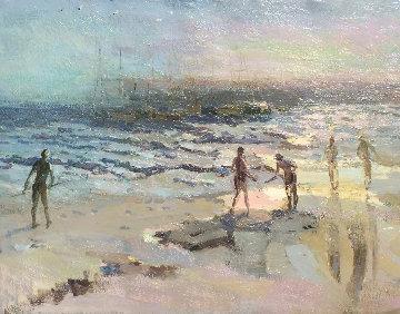 Santa Monica 1977 24x30 Original Painting - Constantine Cherkas
