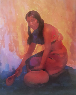 Indian Girl With Pot AP 2004 Limited Edition Print - Constantine Cherkas
