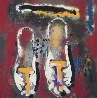 Shoes 23x23 Original Painting - Viktor Chernilevsky