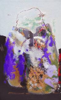 Purple Bag 2008 51x32 Super Huge Original Painting - Viktor Chernilevsky