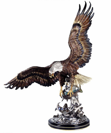 On the Wings of an Eagle Bronze  Sculpture 1991 54 in Sculpture by Chester Fields
