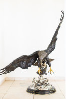 On the Wings of an Eagle Bronze Sculpture 1991 54 in Sculpture by Chester Fields - 20