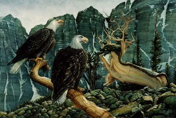 Eagle Cry 1978 32x44 Super Huge Original Painting - Chester Fields