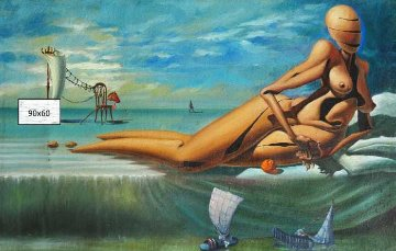 Similarity of Game 1993 35x22 Huge Original Painting - Michael Cheval