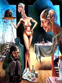 Meal 1992 70x55 Original Painting - Michael Cheval