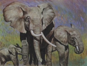 Elephant Family 1989 Limited Edition Print by Charles Bragg (Chick Bragg)