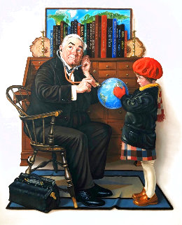 Doctor and Doll (After Rockwell's) 2016 41x35 Original Painting - Charles Bragg (Chick Bragg)