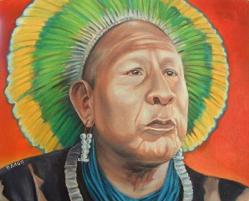 Amazon Chief 1994 24x28 Original Painting - Charles Bragg (Chick Bragg)