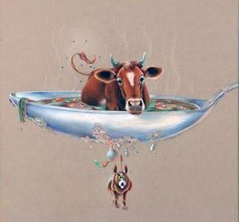 Beef Stew 1977 23x24 Drawing by Charles Bragg (Chick Bragg)