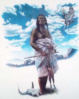 Smoke Hawk 1978 24x20 Drawing - Charles Bragg (Chick Bragg)