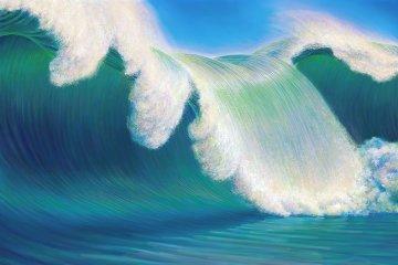 Rogue Wave 2013 40x60 Original Painting by Charles Bragg (Chick Bragg)