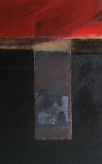 Red, Black  And Colors (Sin Titulo) 1978 72x36 Super Huge Original Painting - Wilfredo Chiesa