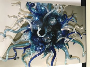 Mosaic Blue with Gold Chandelier 1998  Sculpture by Dale Chihuly