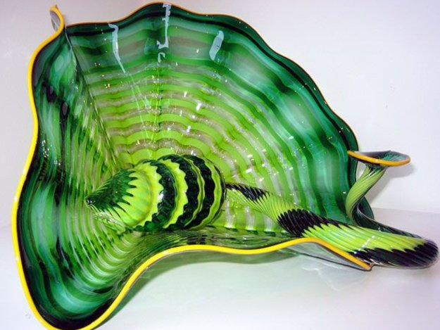 Celtic Emerald Persian Unique Pair 2001 Sculpture by Dale Chihuly