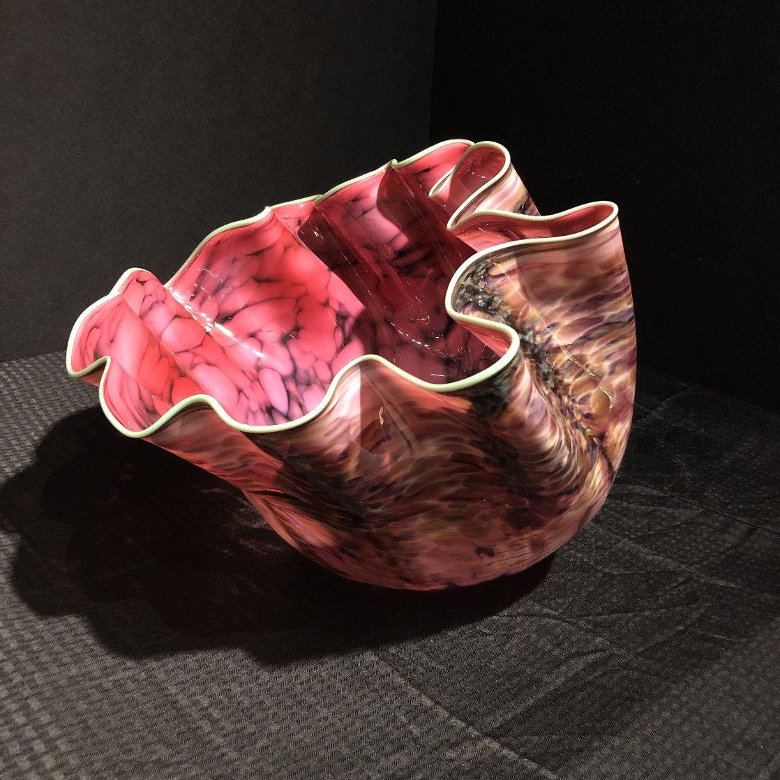 Alizarin Crimson Macchia With Viridian Lip Wrap Glass Sculpture 1983 28 in  Sculpture by Dale Chihuly