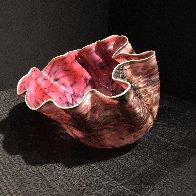 Alizarin Crimson Macchia With Viridian Lip Wrap Glass Sculpture 1983 28 in  Sculpture by Dale Chihuly - 0