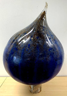 Cascade Blue Onion Glass Sculpture 1999 30 in Sculpture by Dale Chihuly