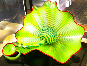 Parrot Green Two Piece Glass Sculpture 2003 10 in Sculpture - Dale Chihuly