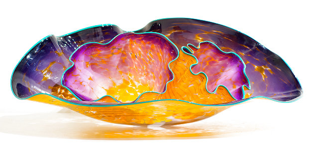 Deep Violet Macchia Glass Set With Teal Lip Wrap 1990,  Ref #569 M.90.3 1990 38 in  Sculpture by Dale Chihuly