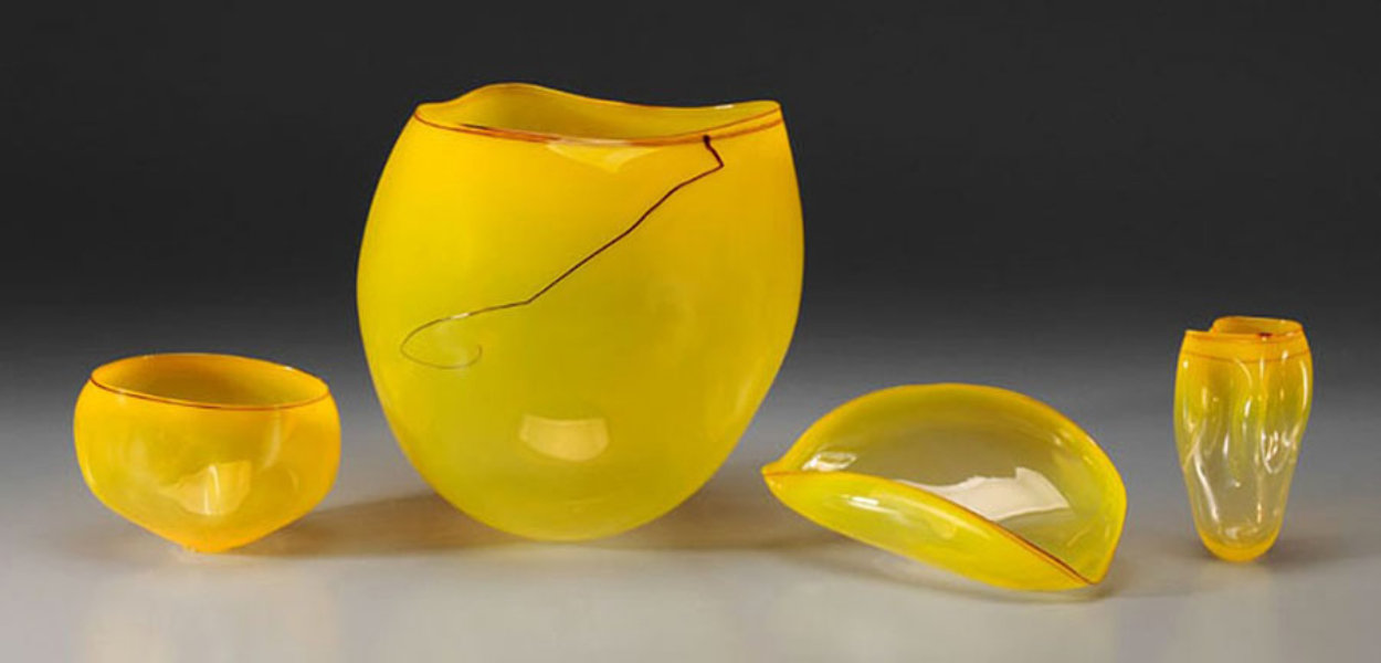 Sun Yellow Basket Set Glass set of 4  Sculptures 2000 Sculpture by Dale Chihuly