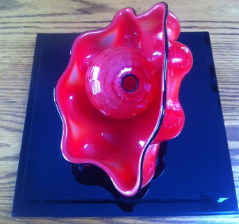 Chinese Red Seaform Unique Pair Glass Sculpture, 2 Piece Set 1995 Sculpture by Dale Chihuly