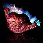 Aqua Blue Macchia With Moss Green Lip Glass Sculpture 1995 Sculpture - Dale Chihuly