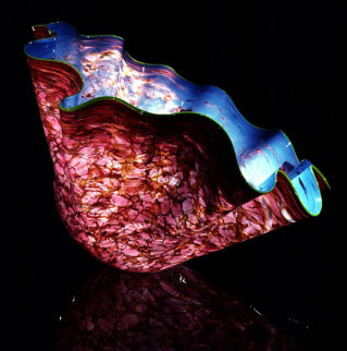 Aqua Blue Macchia With Moss Green Lip Glass Sculpture 1995 Sculpture - Dale Chihuly