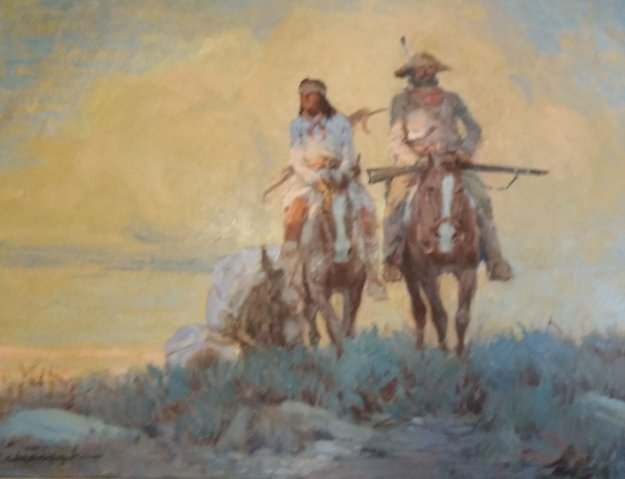 Indian Scout 25x21 Original Painting by Ernest Chiriaka