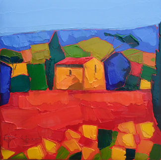 Mas Au Champs Rouge (House in a Red Field) 2010 15x15 Original Painting by Didier Chretien