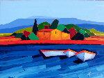 Les Trois Barques 2011 44x57 Original Painting - Didier Chretien