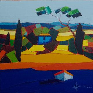 Le Mas Bleu 2011 31x31 Original Painting - Didier Chretien