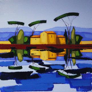 Les Six Pins Parasols 40x40 Original Painting - Didier Chretien