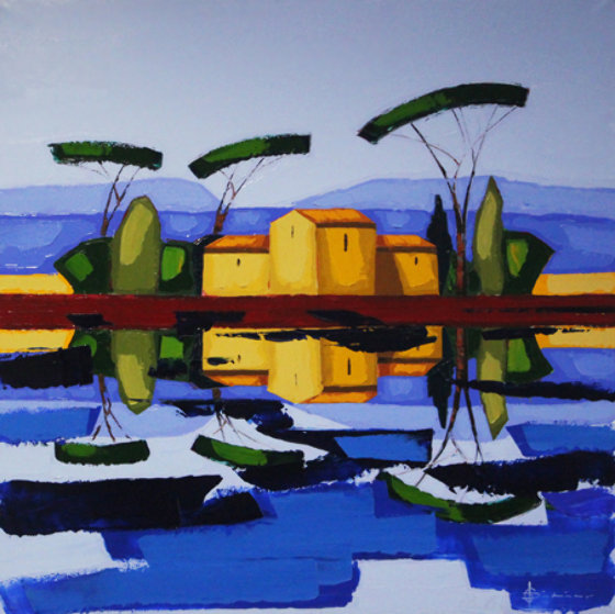 Les Six Pins Parasols 40x40 Original Painting by Didier Chretien