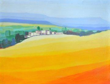 Village Au Champs De Moutarde 15x19 Original Painting by Didier Chretien