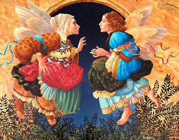 Two Angels Discussing Botticelli 1990 Limited Edition Print - James Christensen