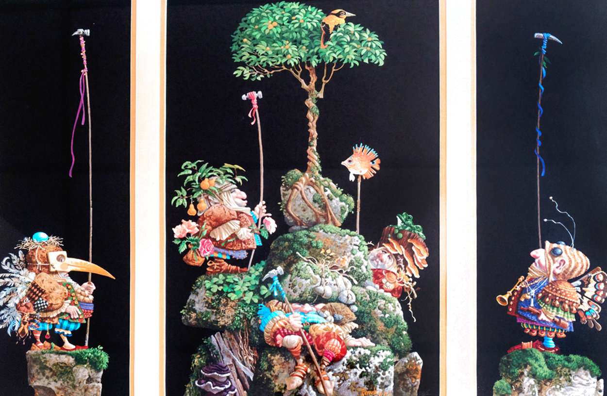 Six Bird Hunters in Full Camouflage, Set of 3 Prints in 1 Frame 1994 Limited Edition Print by James Christensen